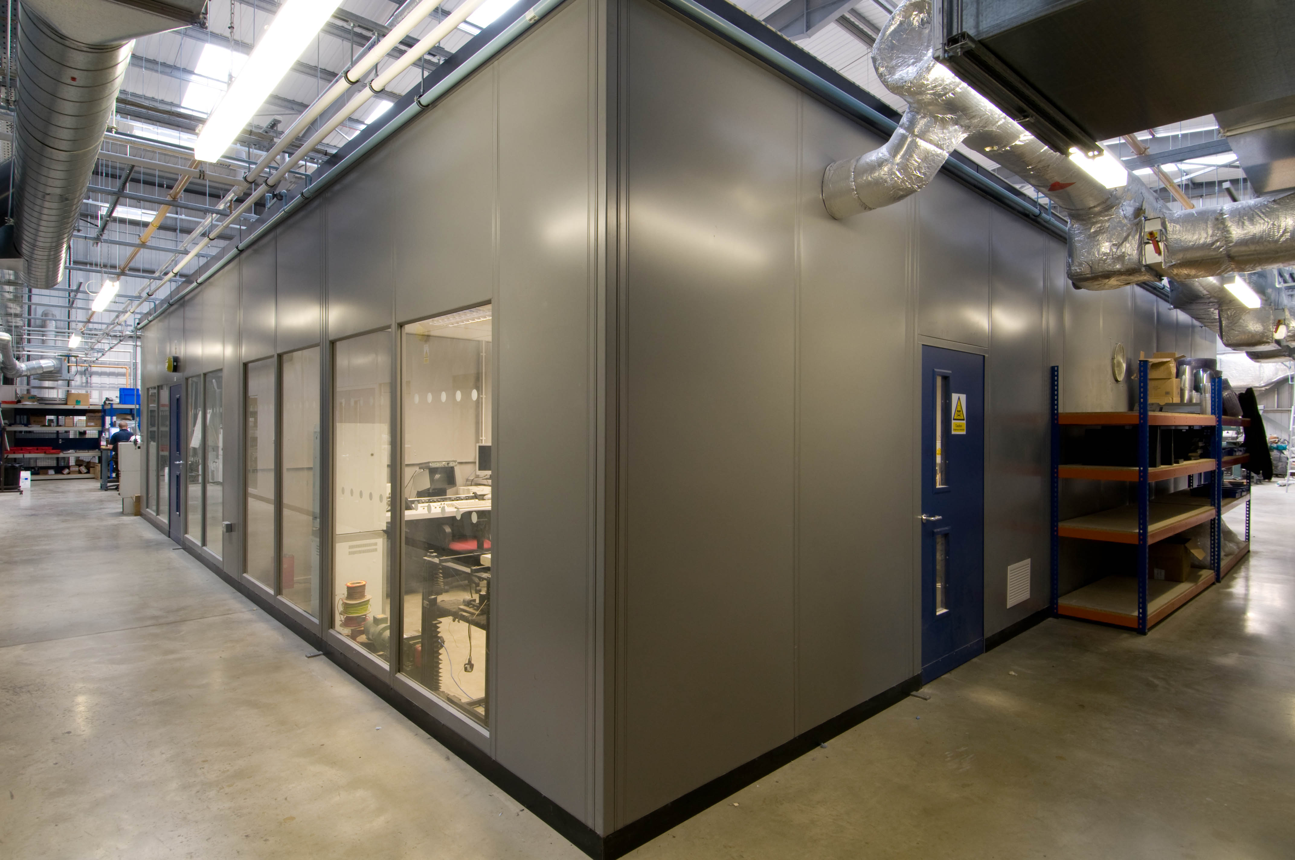 Steel partitioning with glass wall and office door