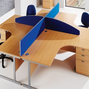 Office desks with partitions