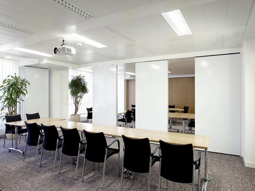 Multiple meeting rooms seperated by movable partitioning