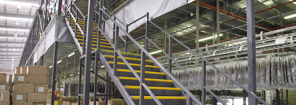 Mezzanine floor and staircase