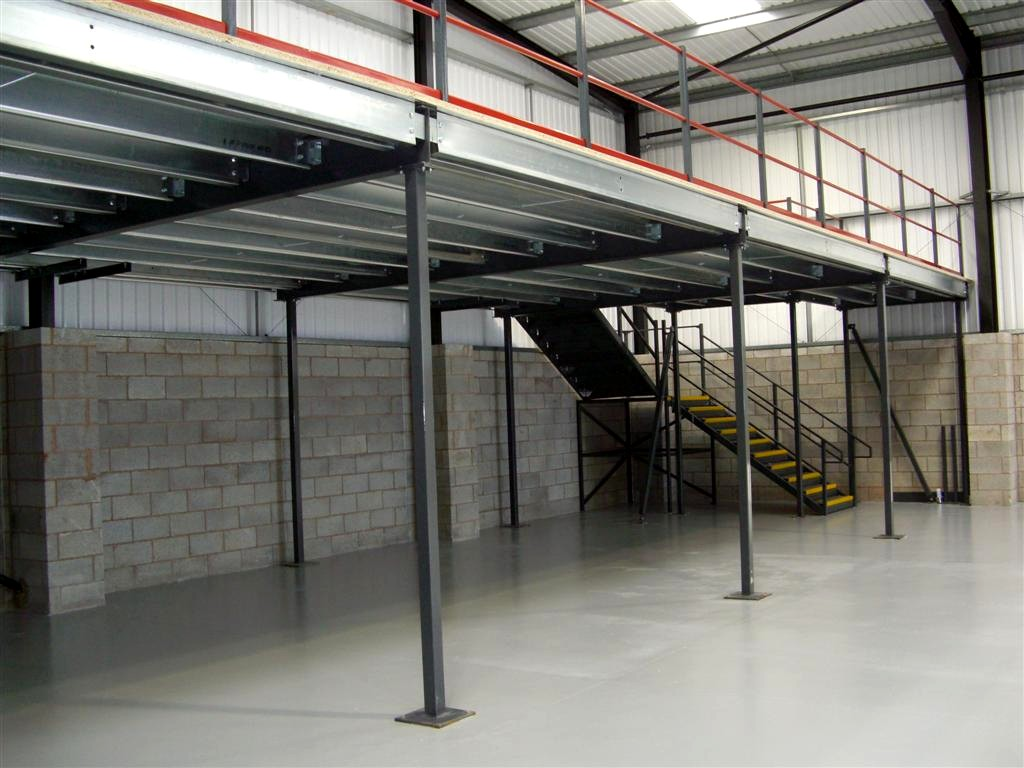Mezzanine floor and staircase Warehouse mezzanines installed by NSI Projects ... & Mezzanine floors and mezzanines for offices - NSI Projects