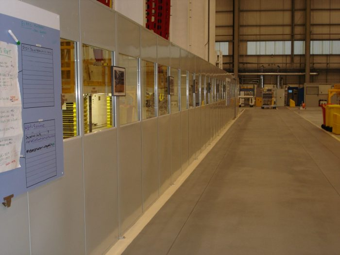 Steel partitions installed in a warehouse
