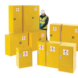 Yellow hazardous storage cupboards