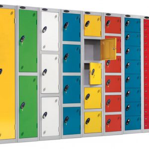 Multi-coloured different sized lockers