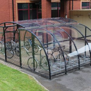 Large enclosed bike shelter